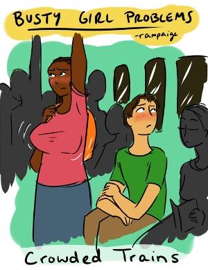 大きな胸の女性「あるある」イラスト